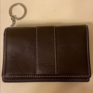 Brown leather Coach wallet/key chain